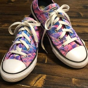 Converse Pink & Purple Satin Shoes Youth Size 2